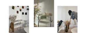des photos d'un showroom qui présente des oeuvres et un sac baguette haut de gamme