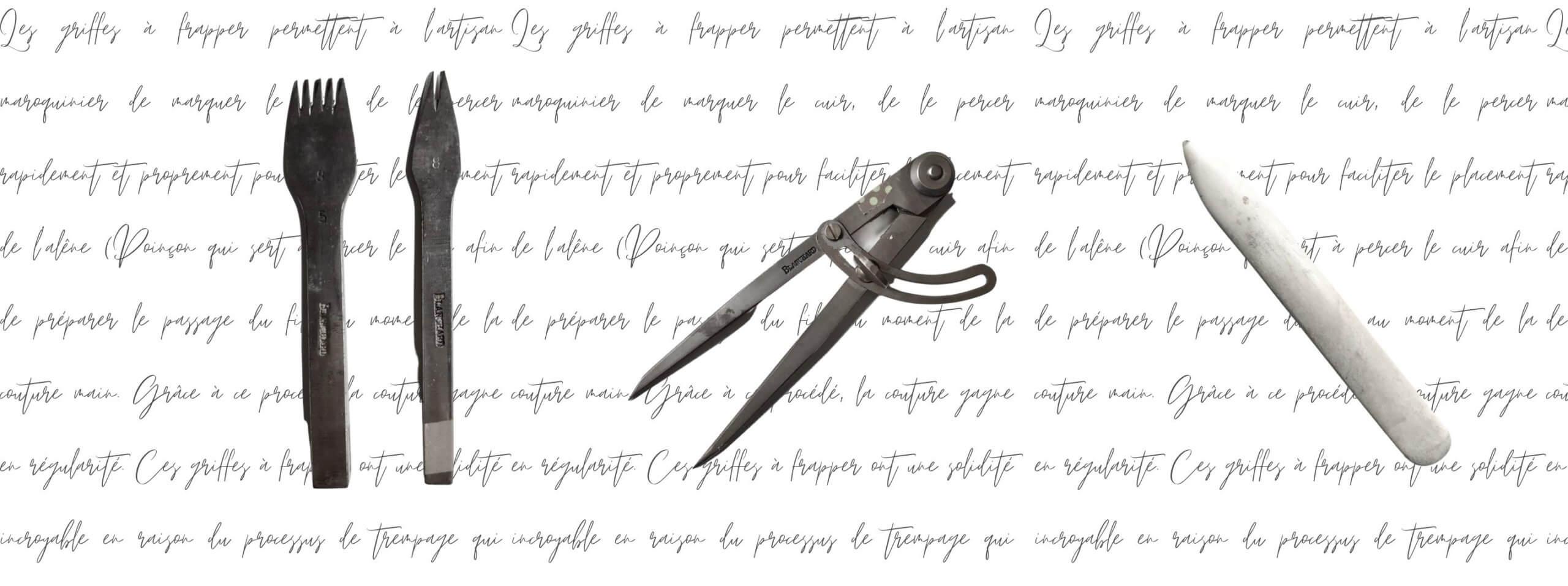 outils de maroquinier les griffes la lisette et le compas