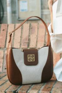 sac bi-matières en cuir tannage végétal et toile de coton